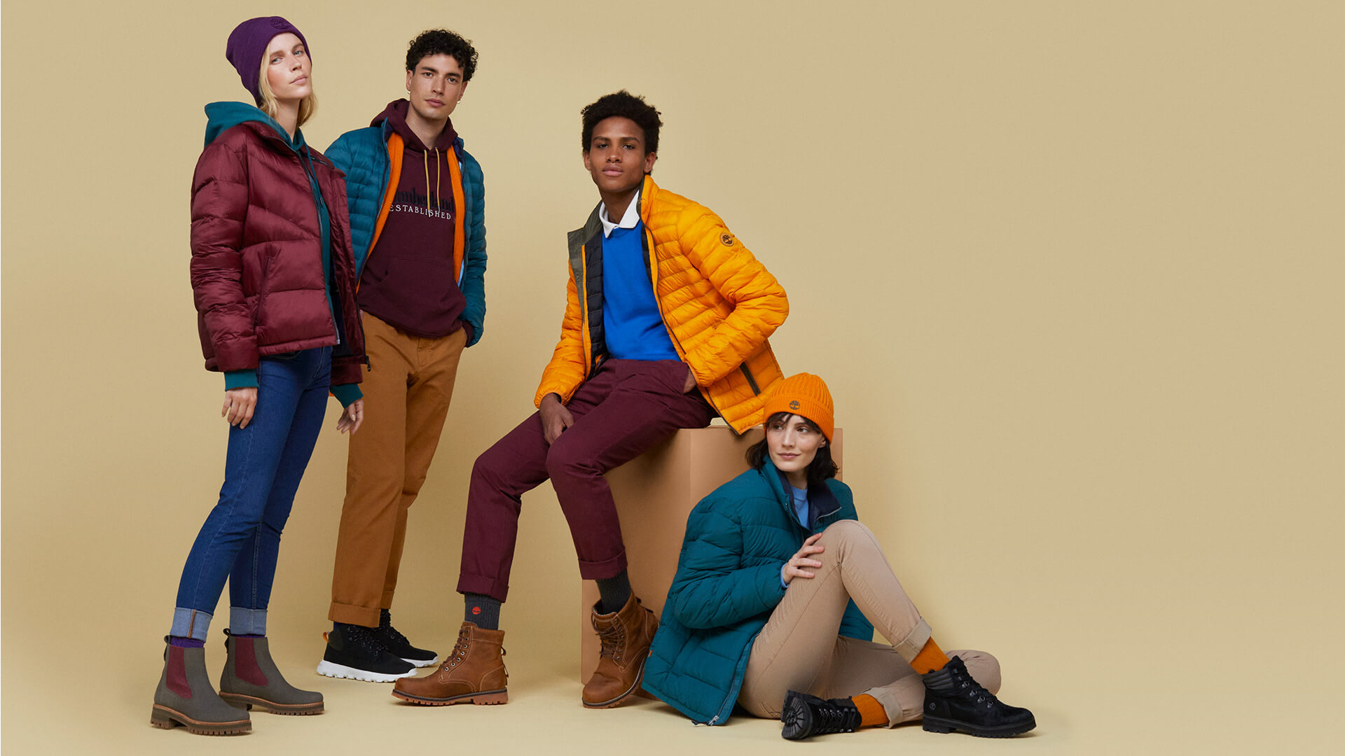 Models in Timberland outerwear