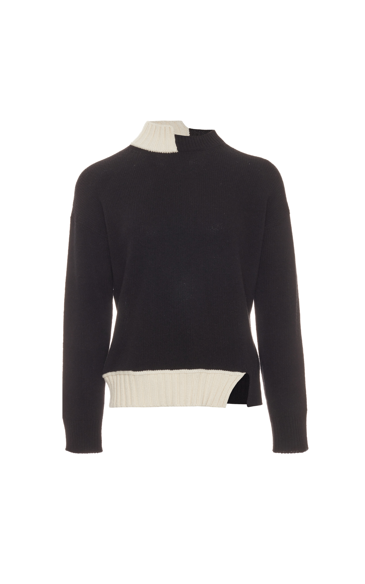 Marni Long sleeve turtleneck sweater mix black and cream from Bicester Village