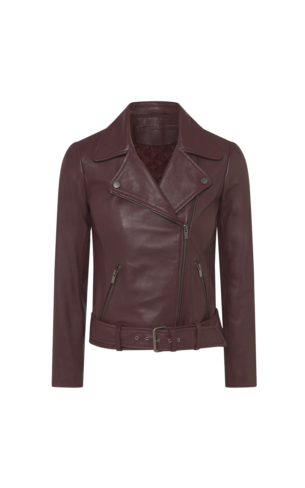 Bordeaux leather biker jacket women Comptoir des Cotonniers