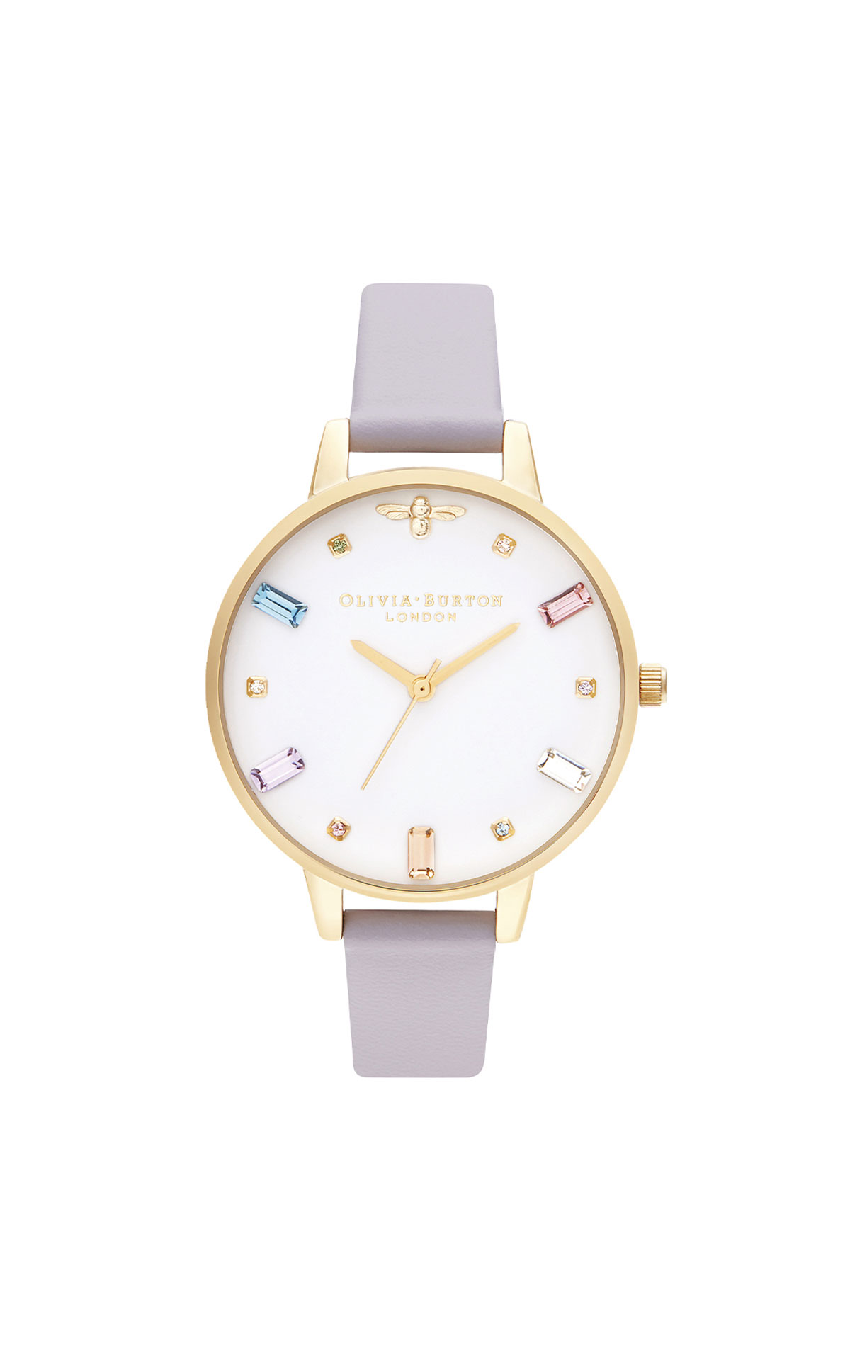 Olivia Burton Rainbow bee parma violet and gold watch from Bicester Village