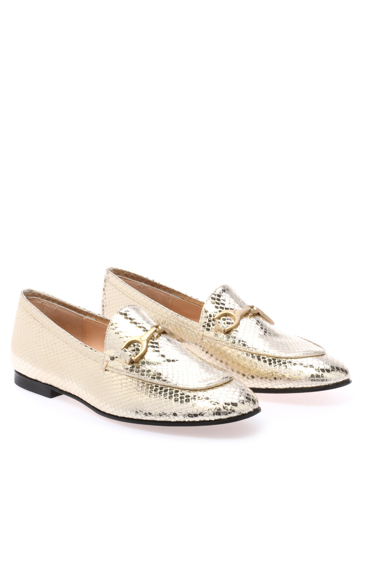 Gold snake print loafers for woman Baldinini
