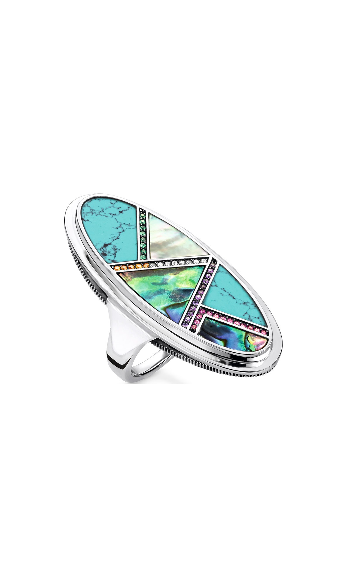 Silver ring with blue stones Thomas Sabo