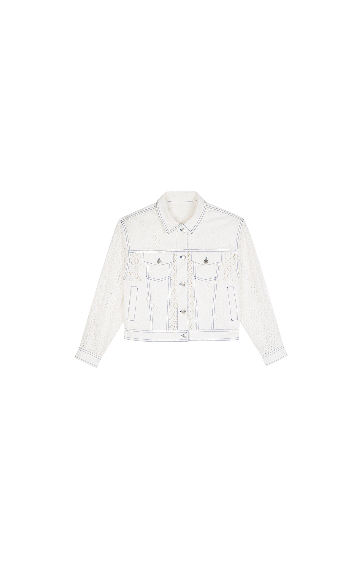 Claudie Pierlot white lace jacket at the bicester village shopping collection