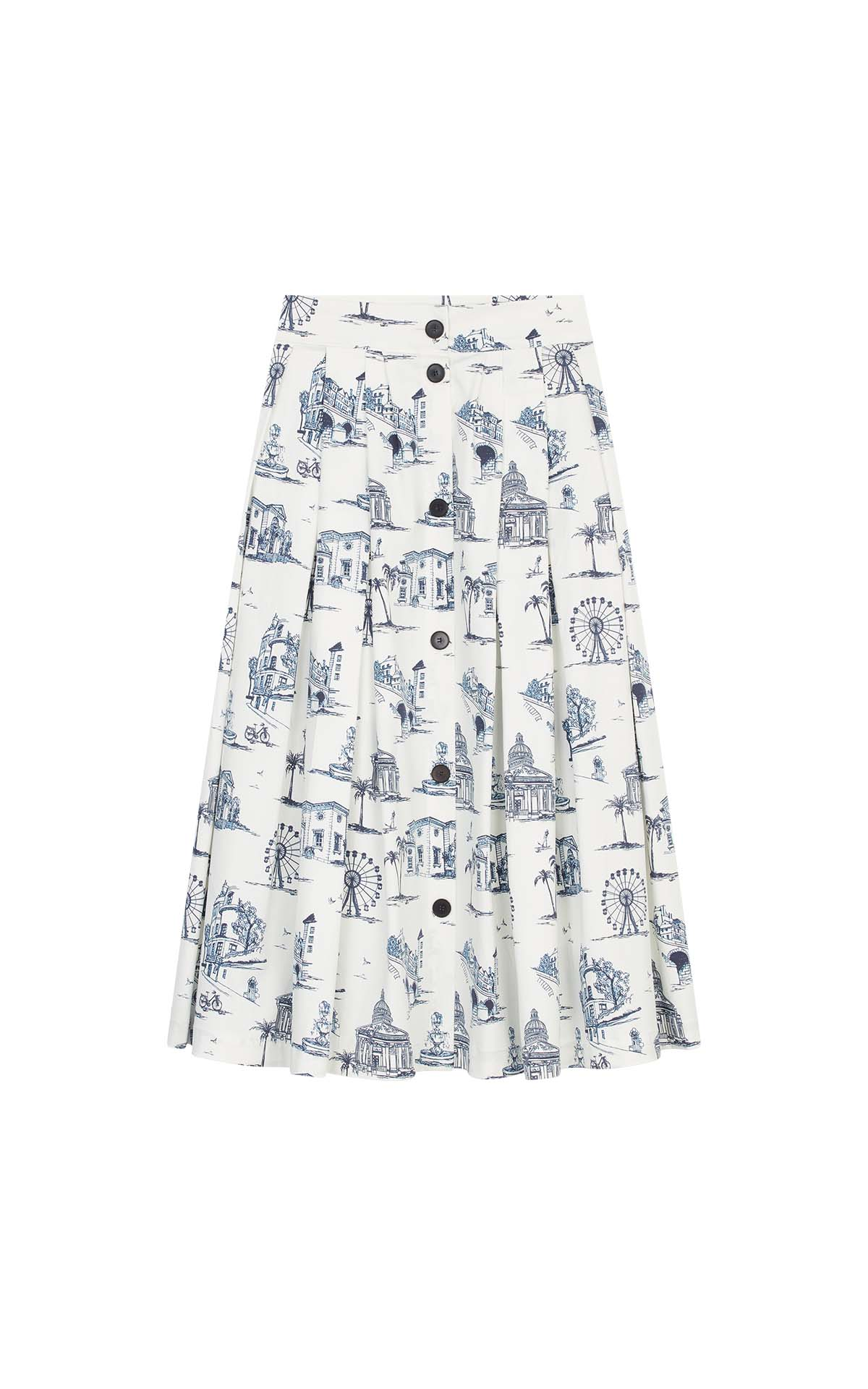 White midi skirt with Paris print for woman Maje