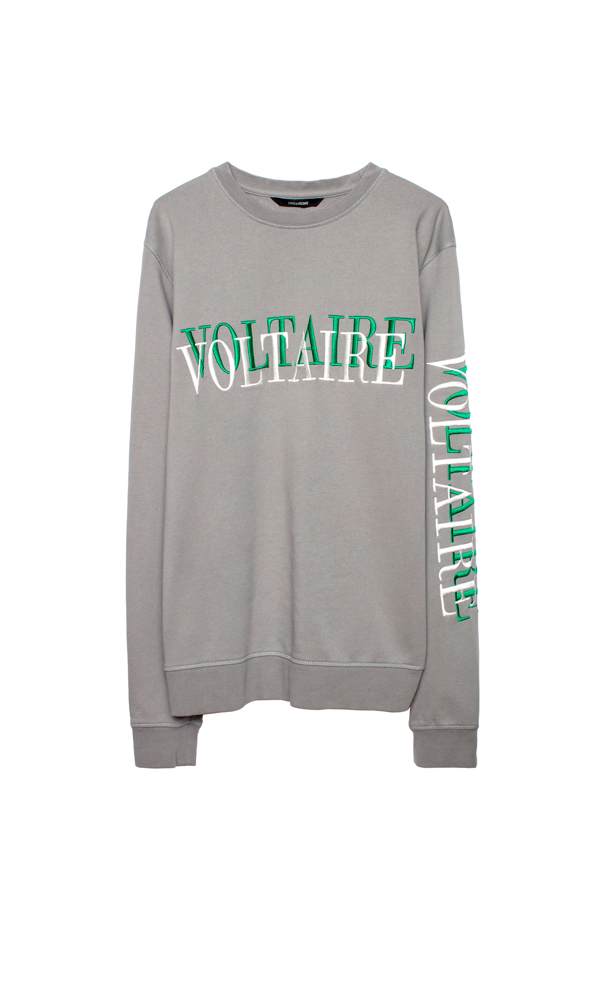 Grey sweatshirt with green and white logo Zadig & Voltaire