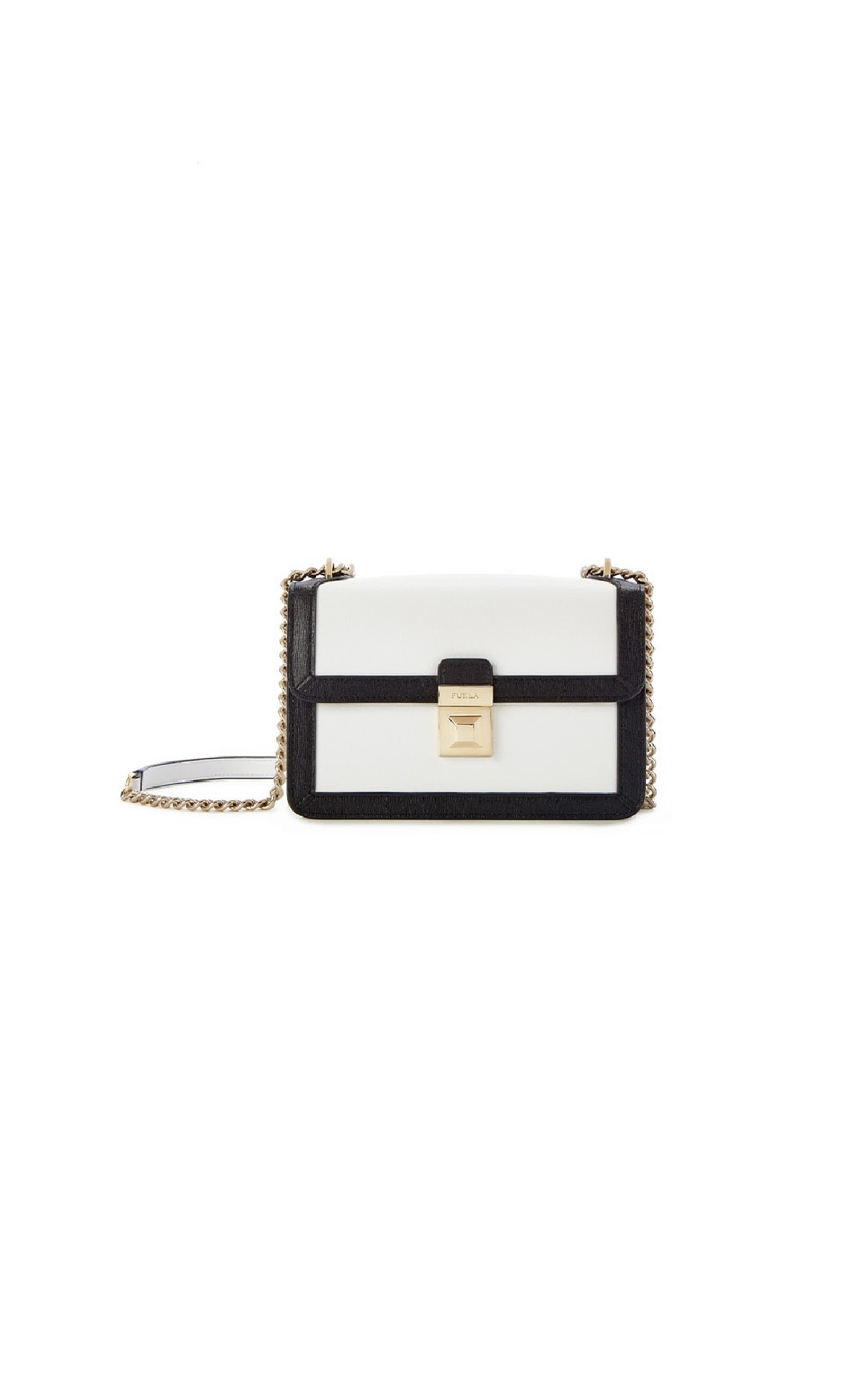 Furla Dixie mini Crossbody in white/black at The Bicester Village Shopping Collection