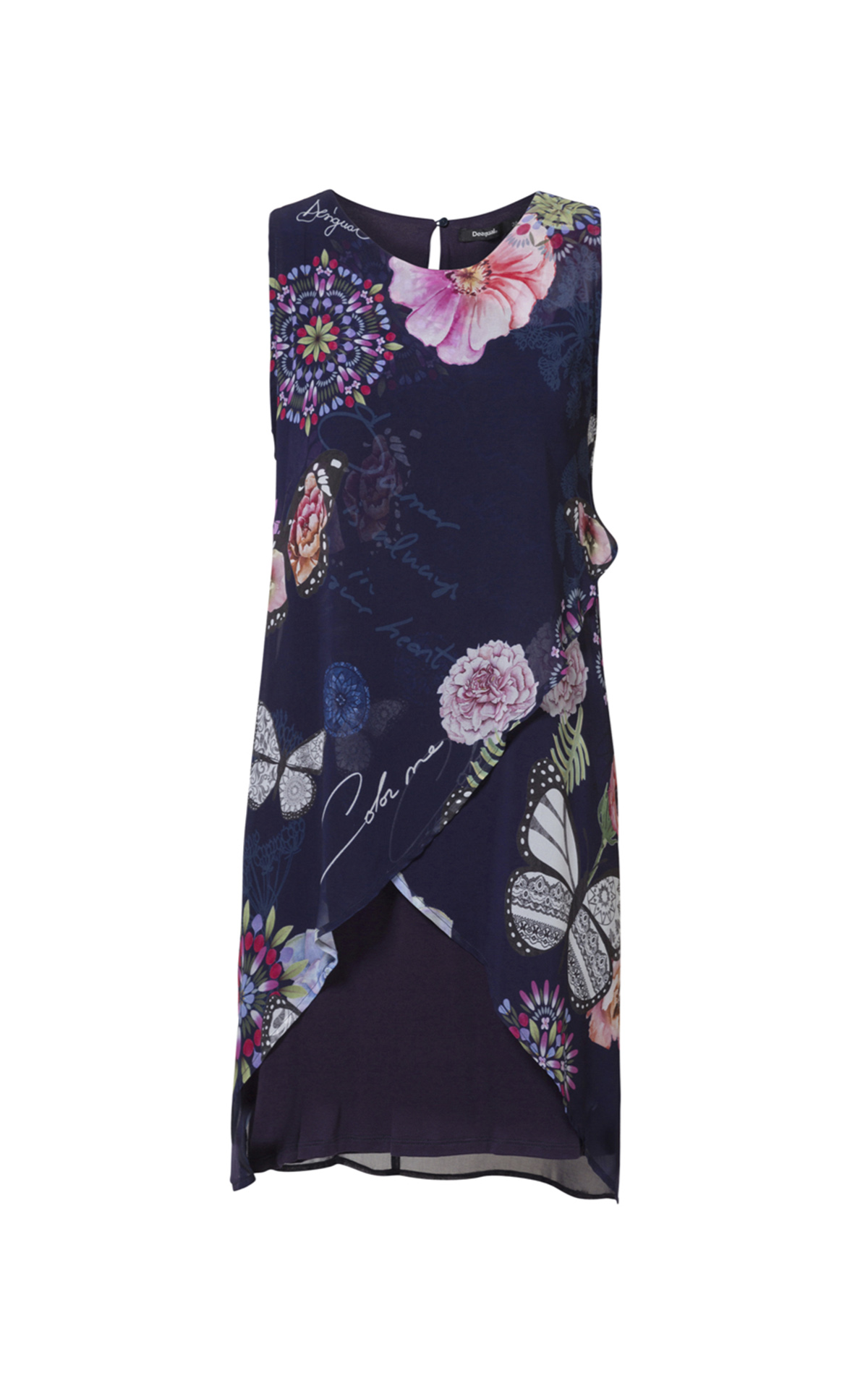 Navy blue flowered dress for woman Desigual