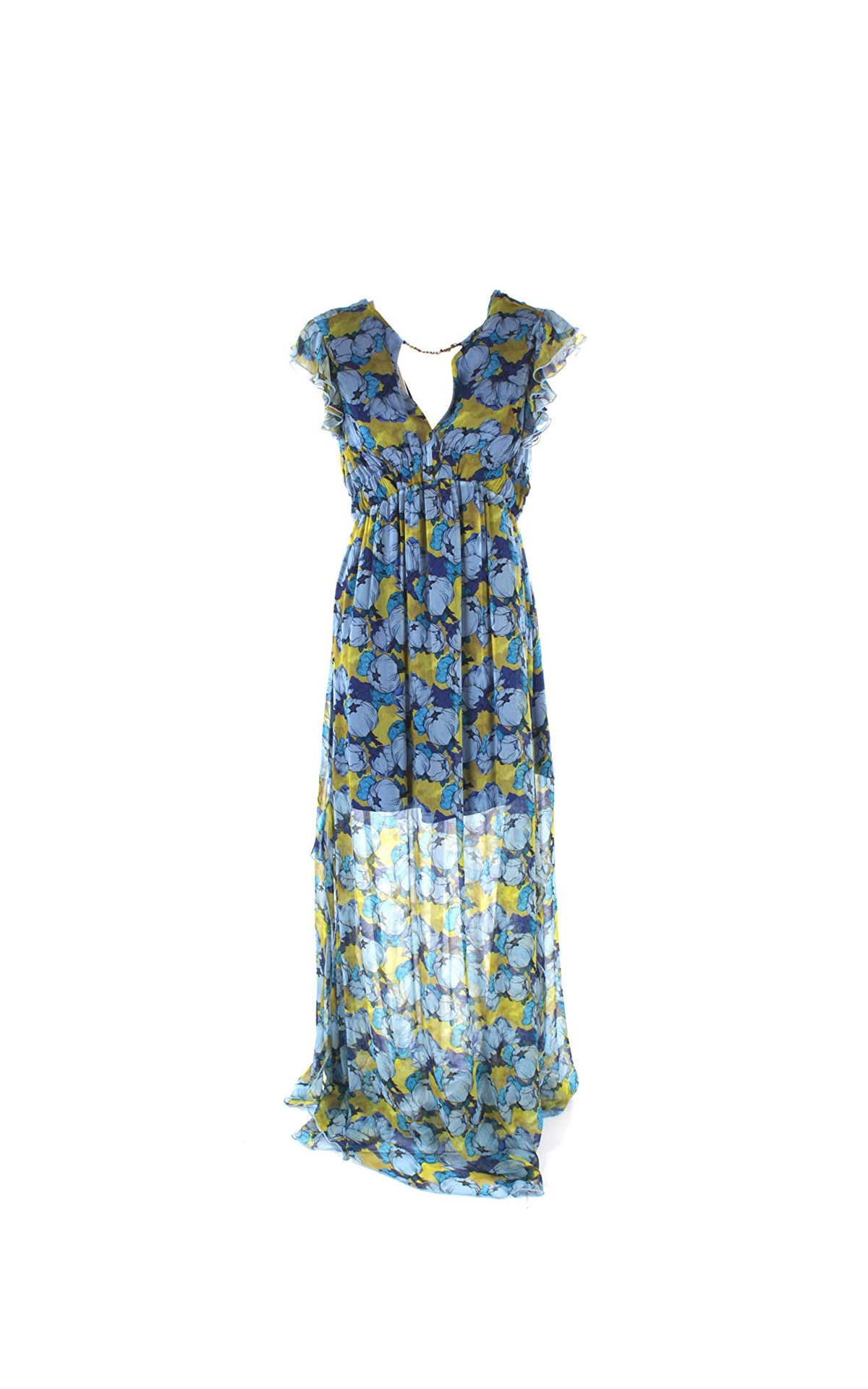 Long blue dress with flowers Pinko