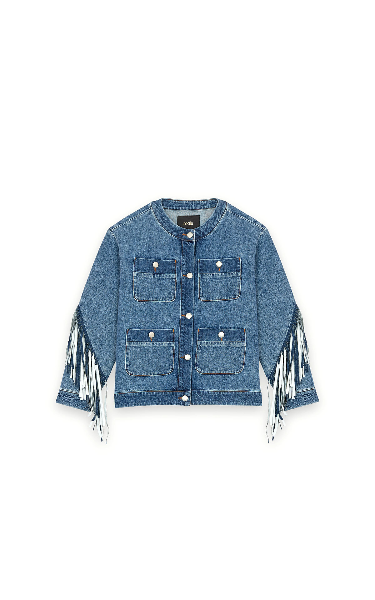 Maje jean jacket with fringe at The Bicester Village Shopping Collection