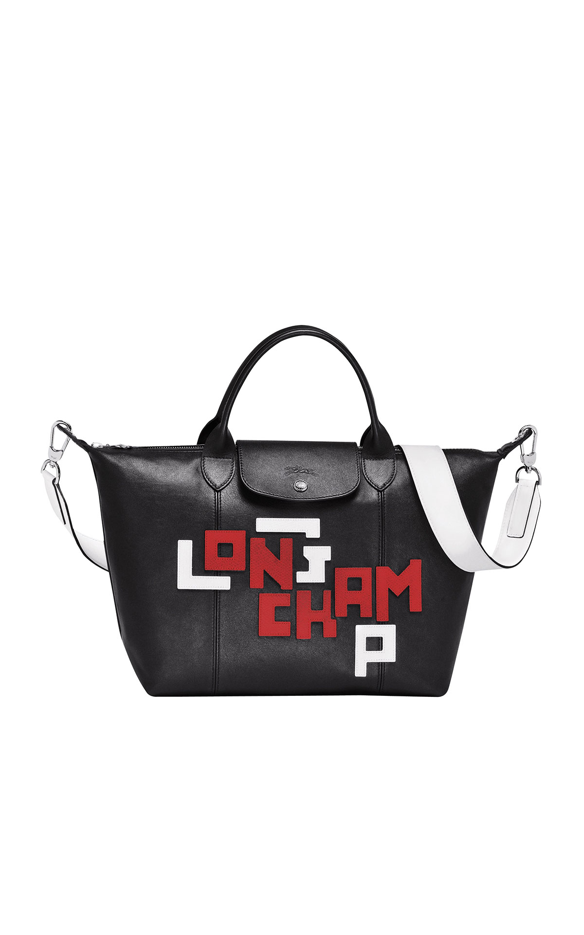Longchamp Leather medium sized top handle bag with leather top-stitched Longchamp logo from Bicester Village