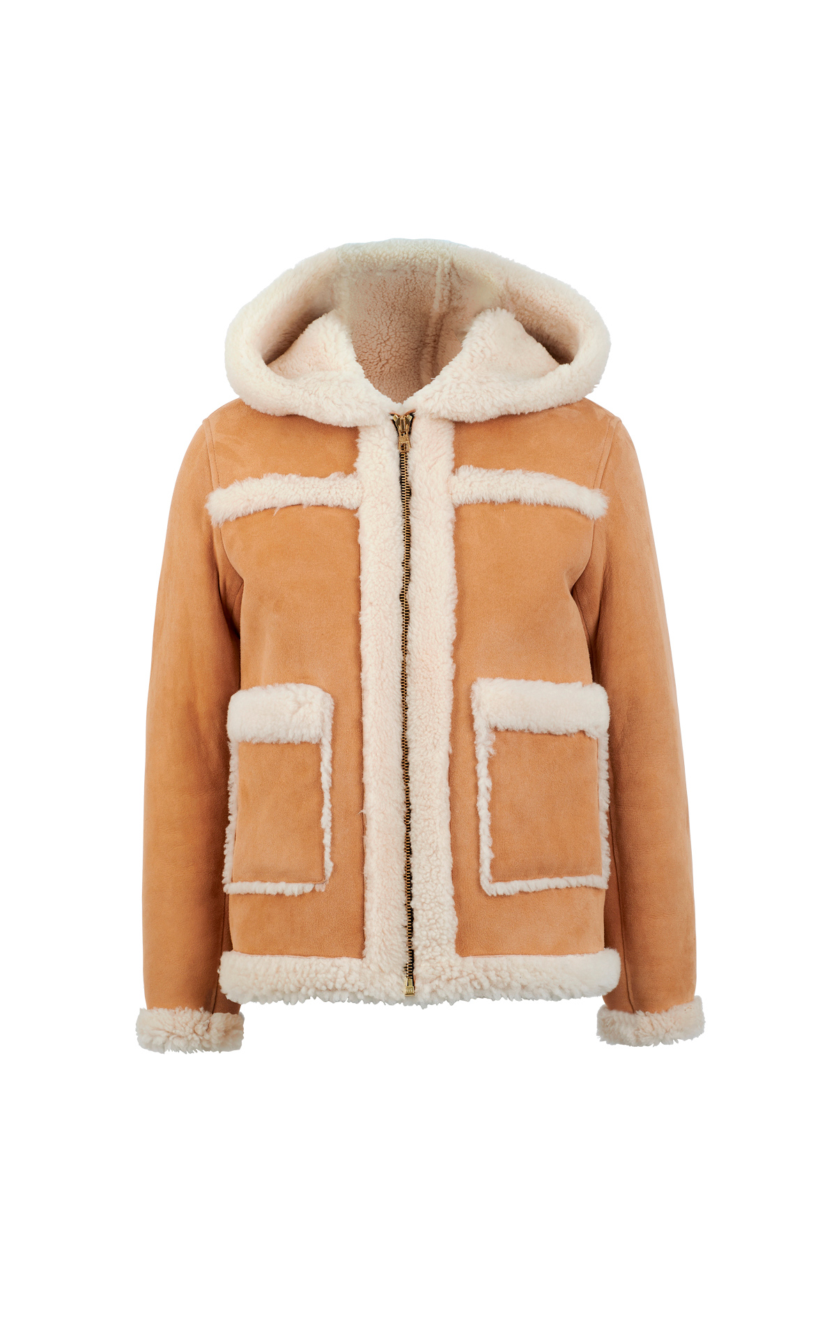 Camel jacket with shearling Sandro