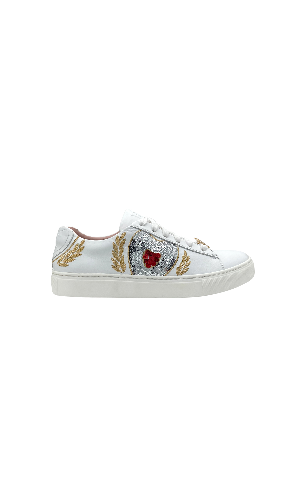 White sneakers with heart Escada