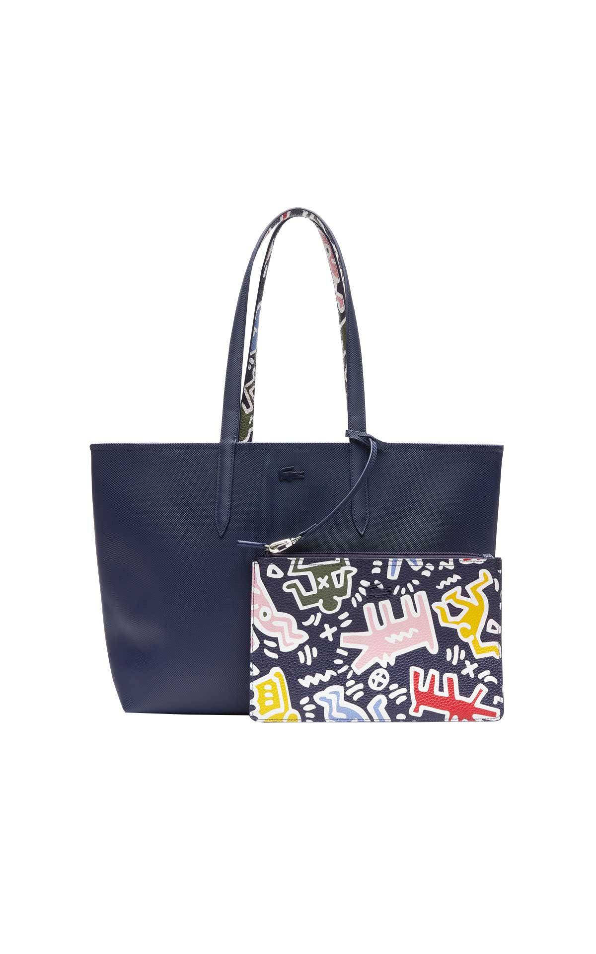 Leather navy blue tote bag for woman Lacoste