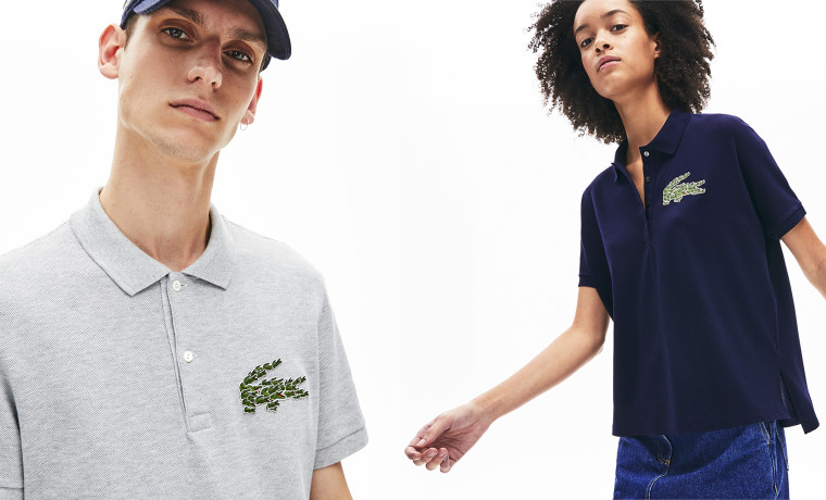 Models in Lacoste polos