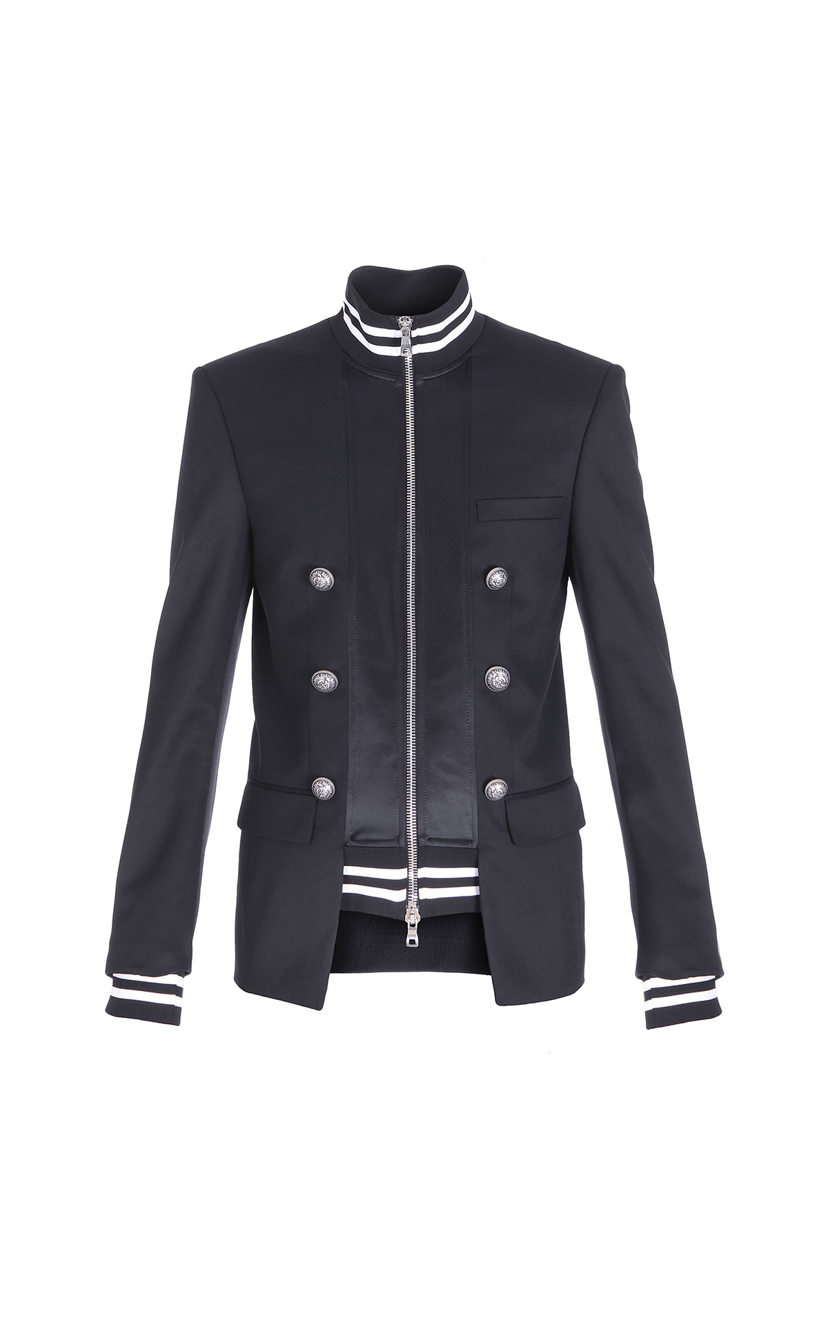 Balmain Double-breasted layered bomber jacket from Bicester Village