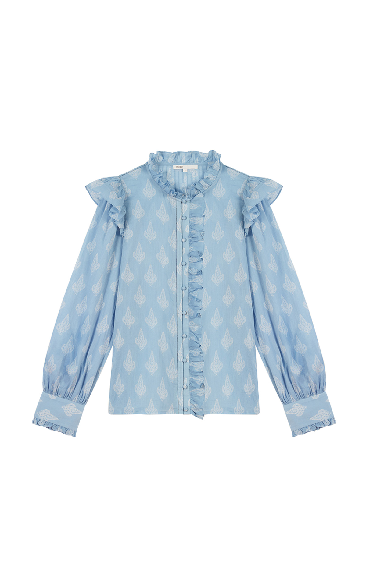 Maje printed cotton voile ruffled top at The Bicester Village Shopping Collection