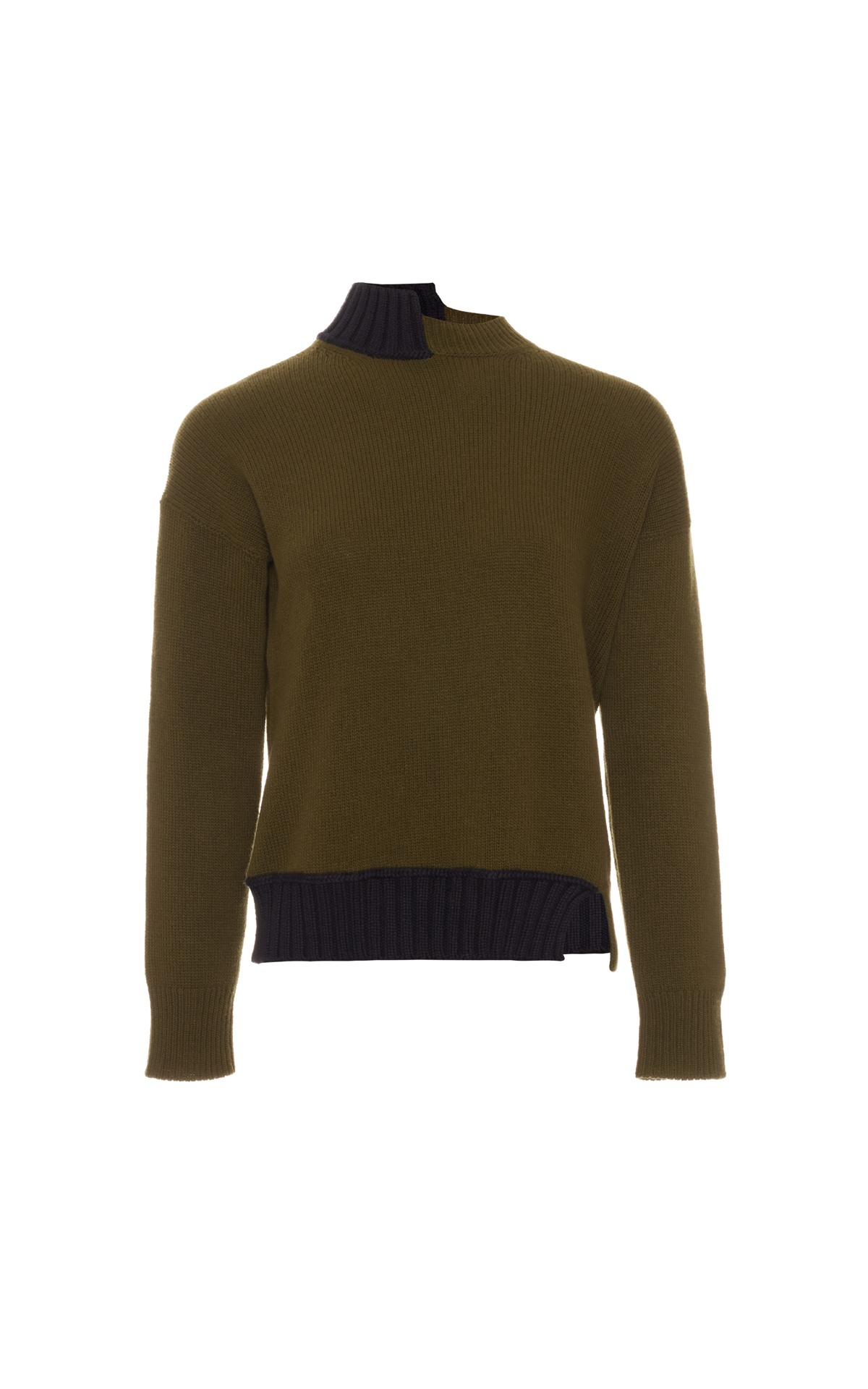 Marni Long sleeve turtleneck sweater mix black and khaki from Bicester Village