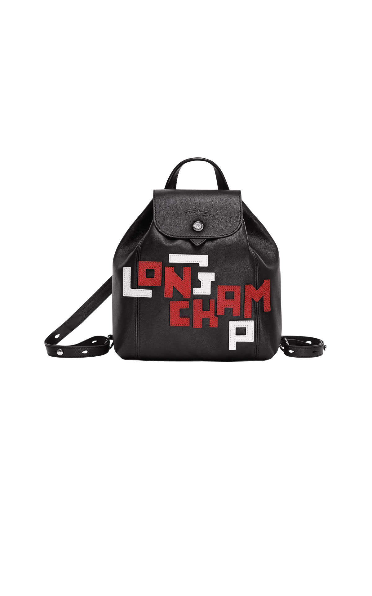 Black leather backpack with red letters Longchamp