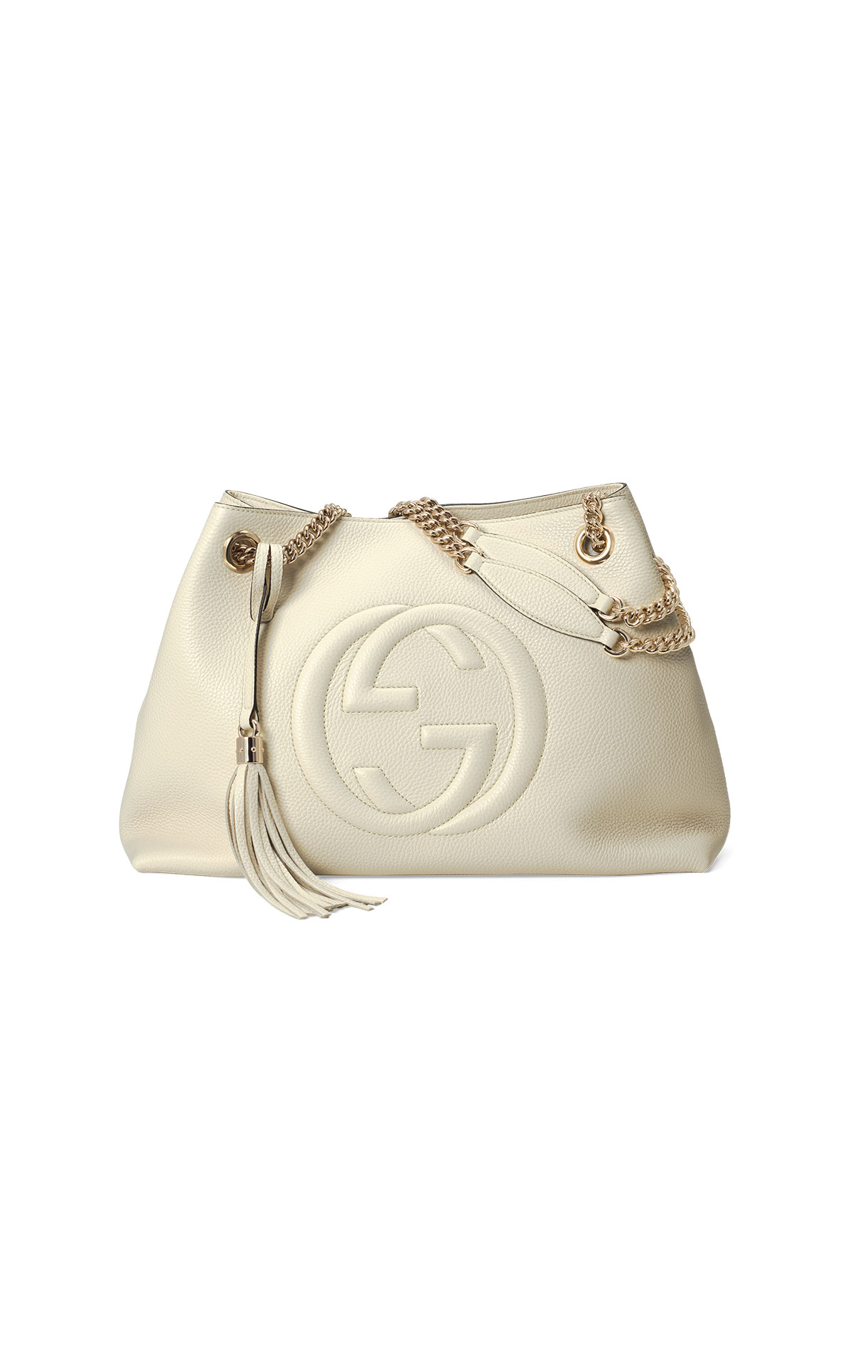 Gucci Double chain tote in ivory leather with embossed Interlocking G and tassel detail from La Roca Village