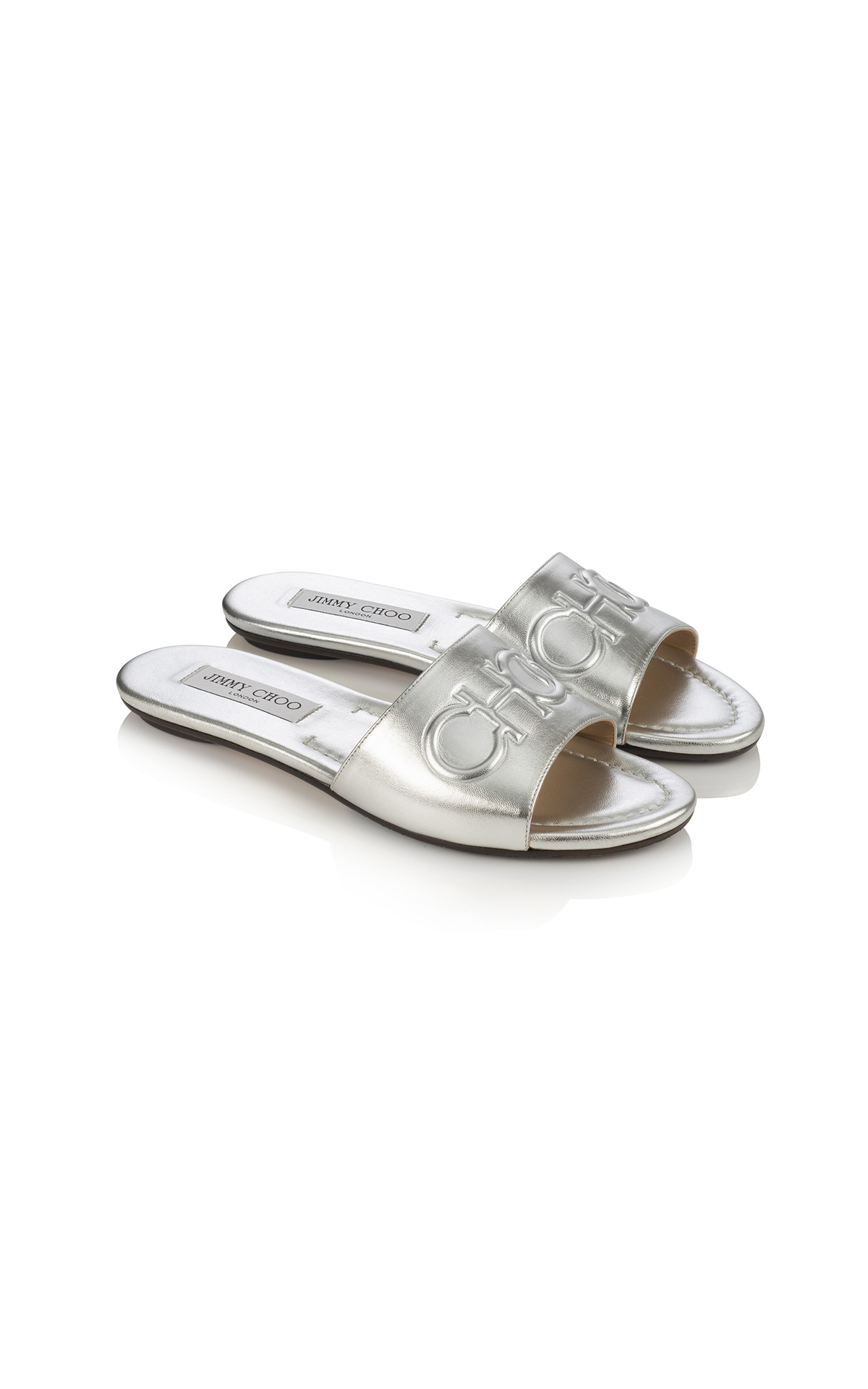 Jimmy Choo Tiaret flat in metallic silver at The Bicester Village Shopping Collection