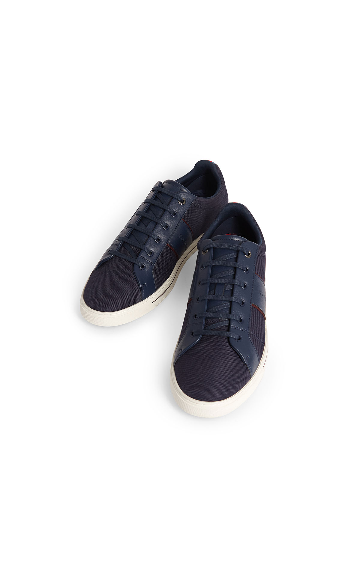 Ted Baker Epprod navy textile mix branded trainer from Bicester Village