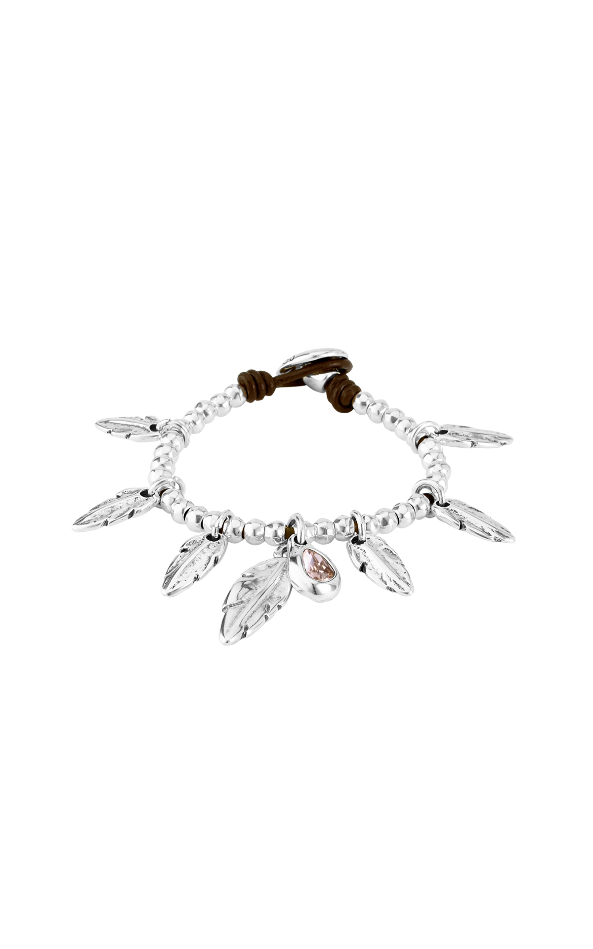 Silver bracelet with feathers UNOde50