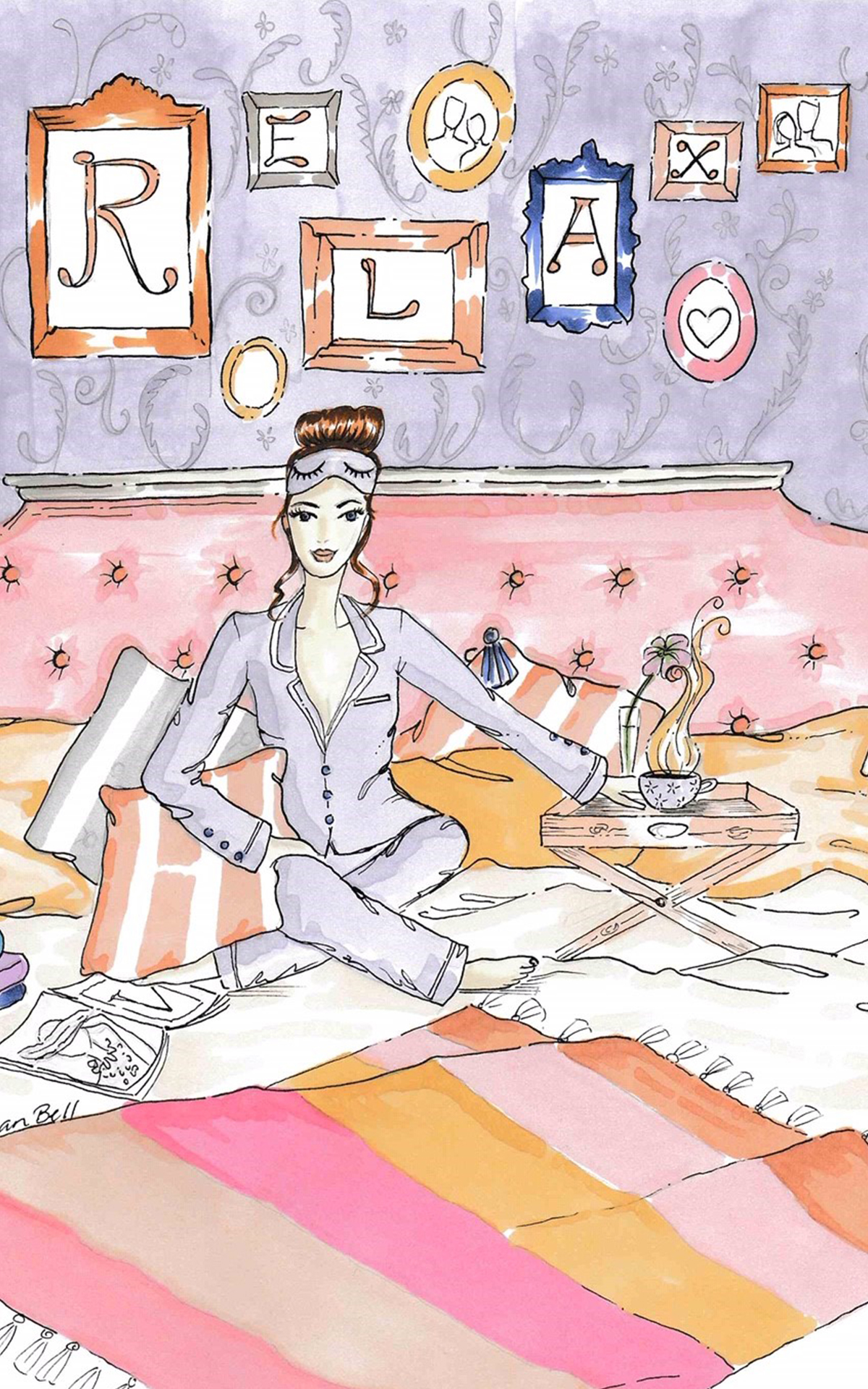 Artist Gillian Bell Illustrations for Kildare Village Relaxation