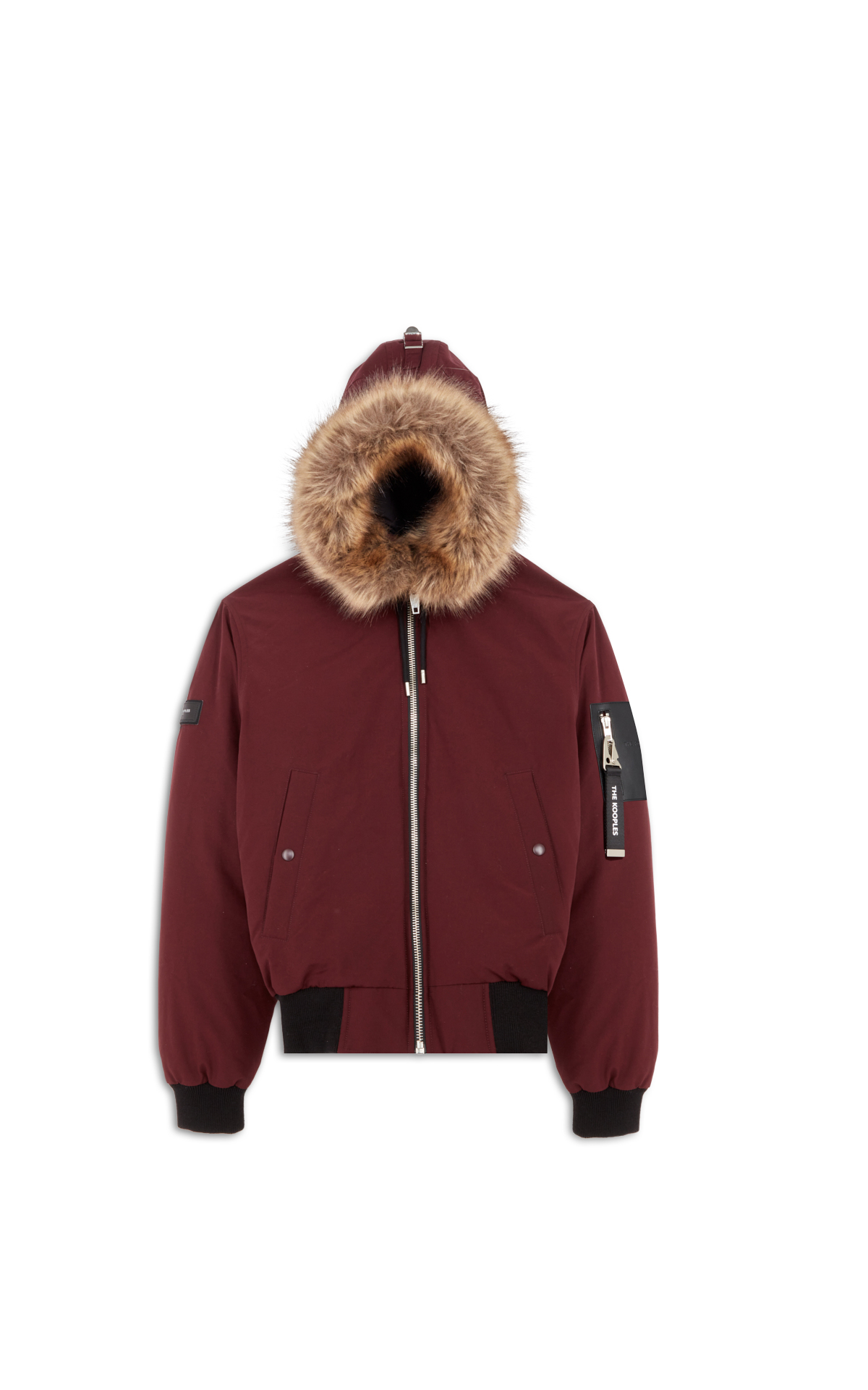 The Kooples Burgundy jacket with faux fur hoodie la vallée village