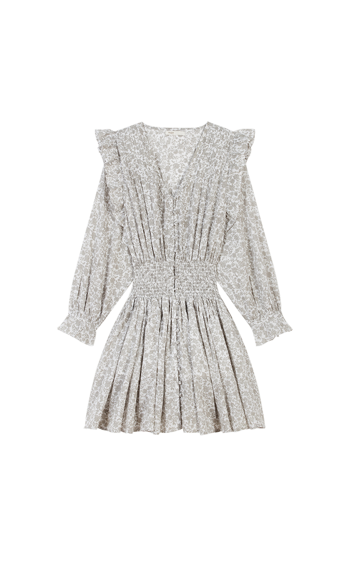 Maje Short floral-print ruffled smocking dress in grey at The Bicester Village Shopping Collection