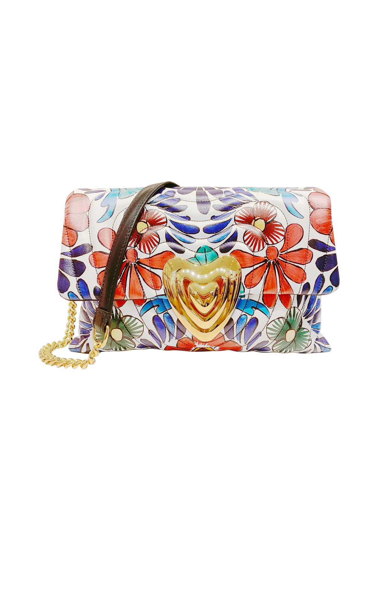 Flower print leather bag Escada