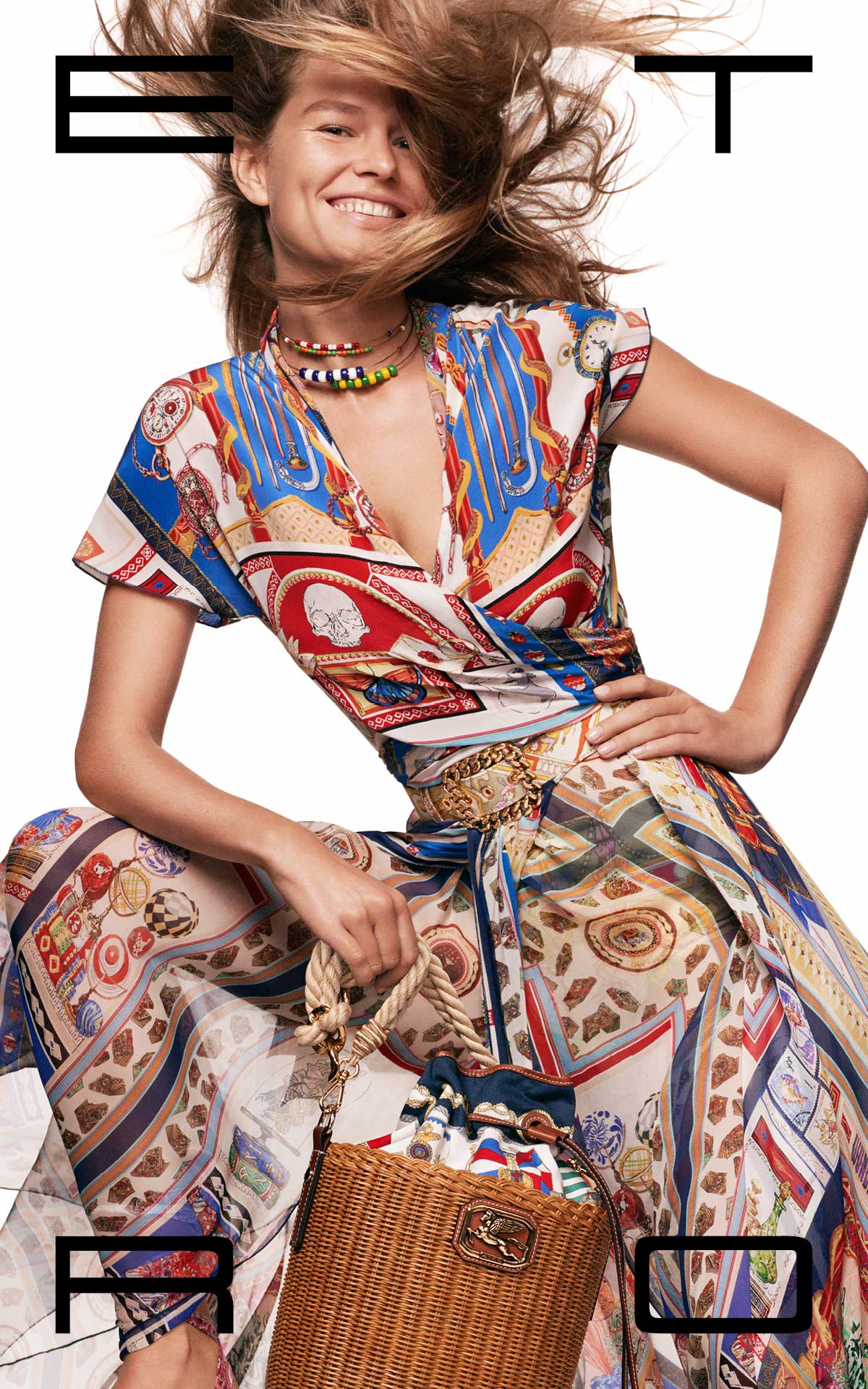 Girl with an Etro printed dress