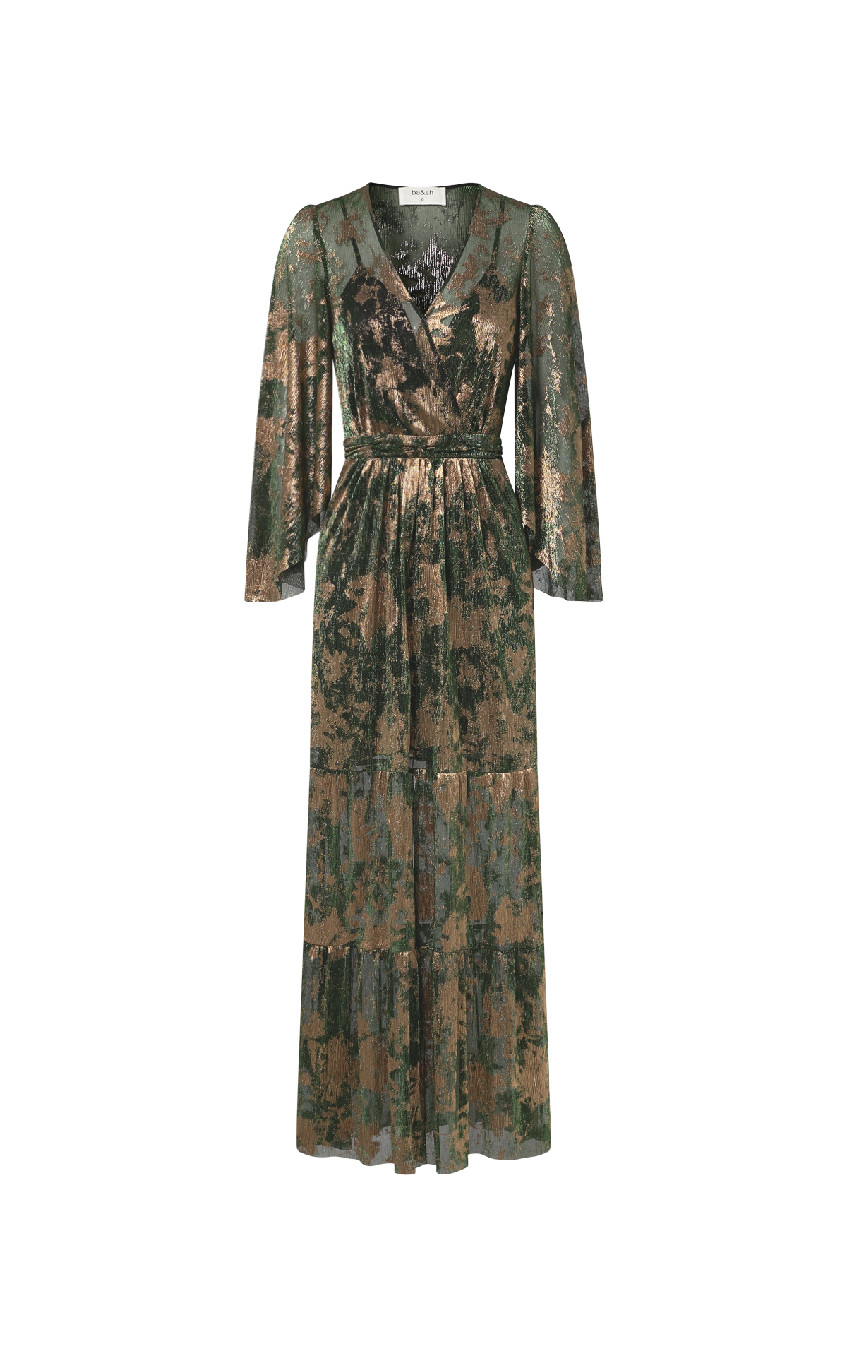 Green and gold printed long dress for woman ba&sh
