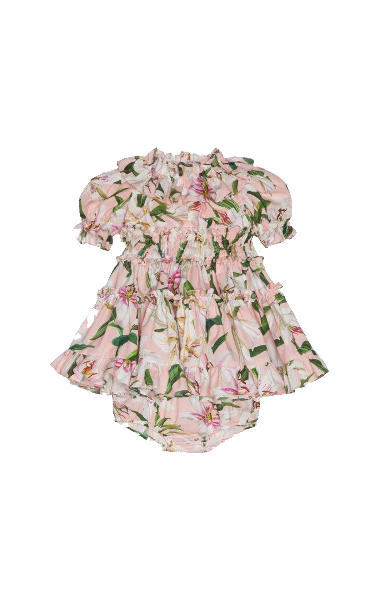 Dolce & Gabbaba Midi cotton lilium print dress pink from Bicester Village
