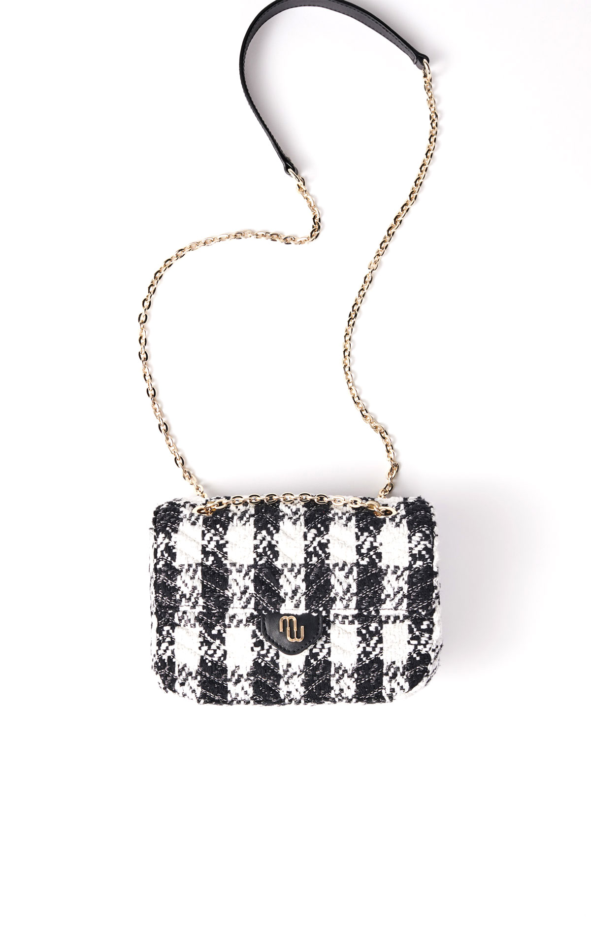 Maje small bag with contrasting tweed flap at the Bicester Village Shopping Collection