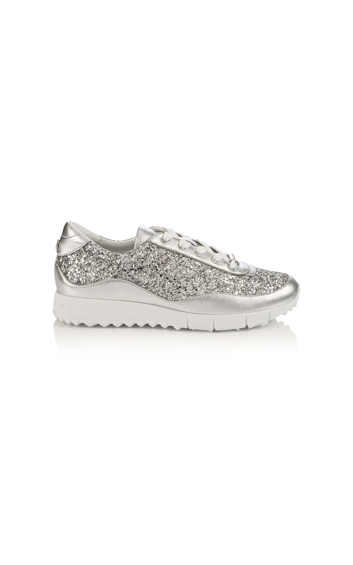 Jimmy Choo Monza coarse glitter metallic nappa silver at The Bicester Village Shopping Collection
