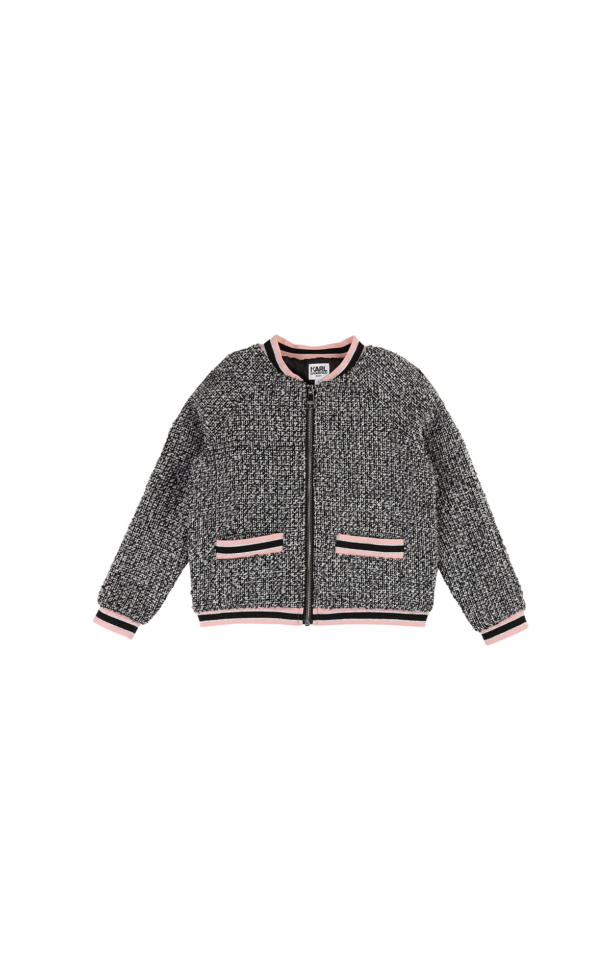 Kids around Chloe Kids Karl Lagarfeld grey jacket with pink details la vallée village