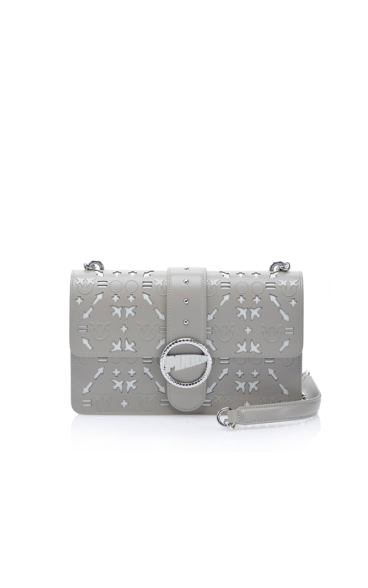 Laser cut leather grey bag Pinko